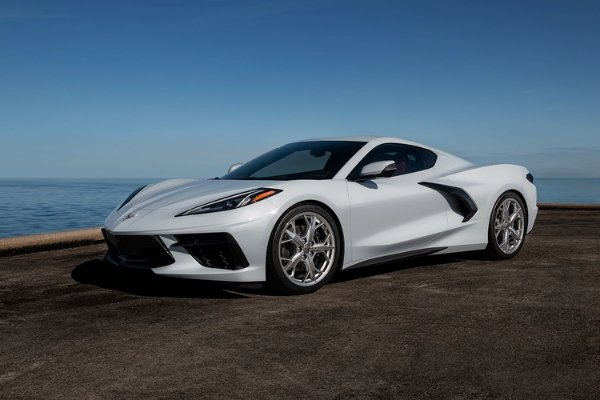 Parked white Corvette C8
