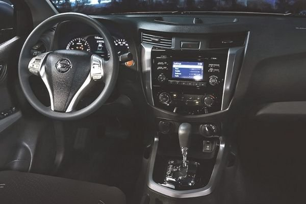A picture of the Navara's dashboard and steering wheel
