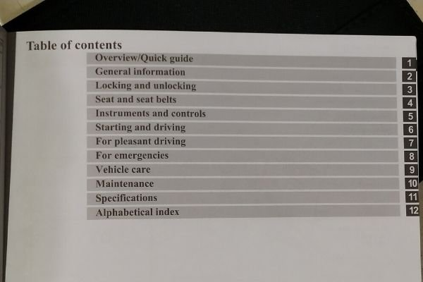 Table of content of car manual
