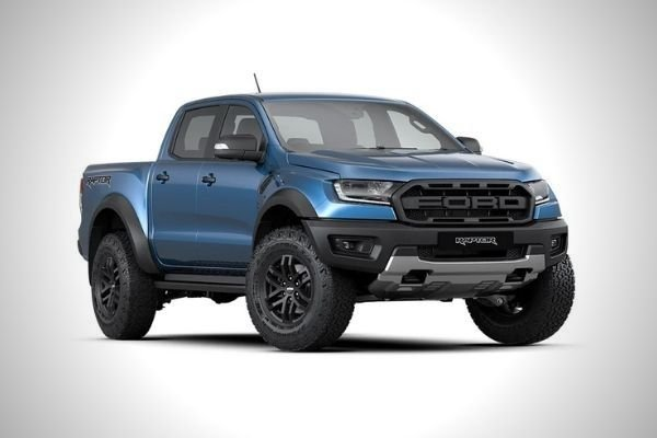 A picture of the Ford Ranger Raptor in blue