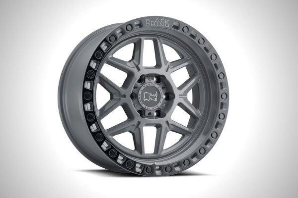 A picture of a black rhino wheel