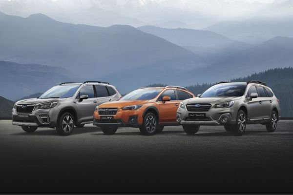A picture of several Subaru models
