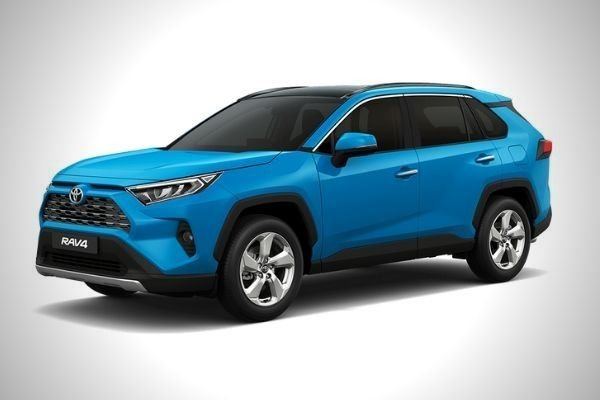 A picture of a blue Toyota Rav4 with white background