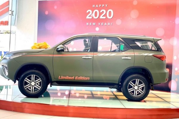 Side view of the Army Green Fortuner