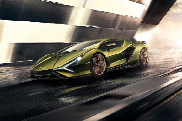 A Lamborghini Sian on the road