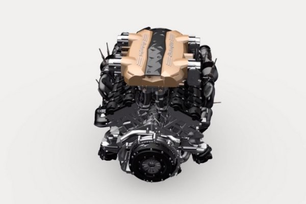 The V12 engine of Lamborghini
