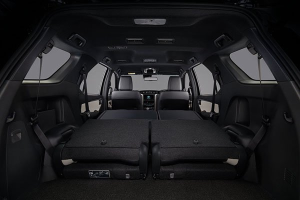 A peek into the 2020 Toyota Fortuner from the rear door