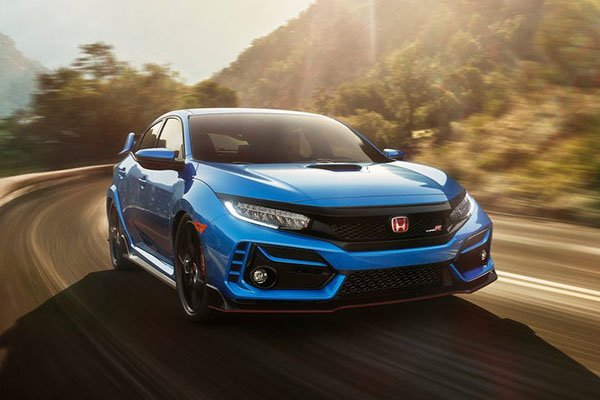 A picture of the Honda Civic Type R on a curvy road