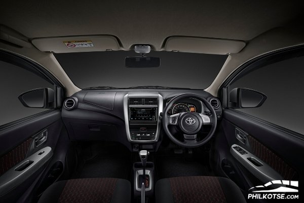 Interior view of the Toyota Agya
