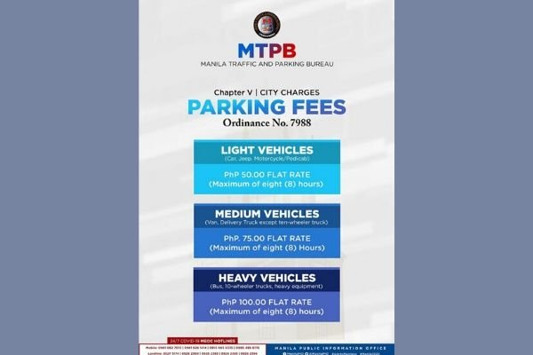 Manila City flat-rate parking fee