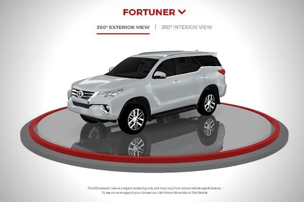 A picture of a 3D Toyota Fortuner in the Toyota Virtual Showroom