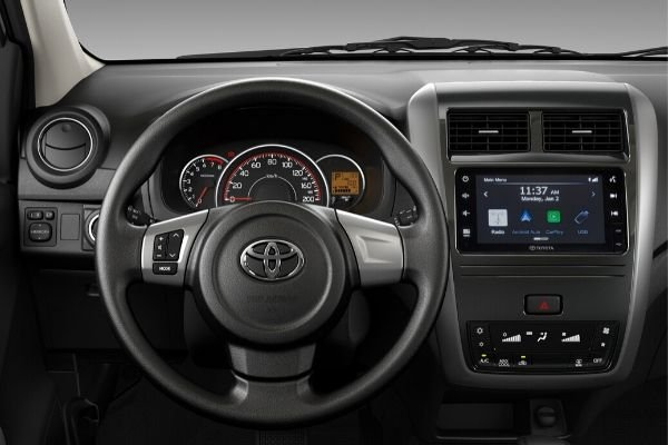 A picture of the inteiror of the Toyota Wigo