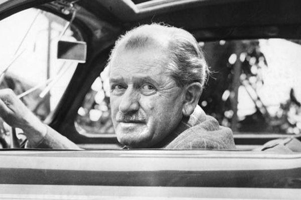 A picture of Ferdinand Porsche driving