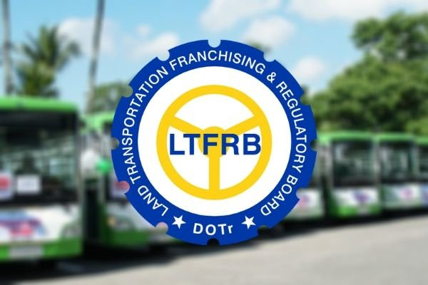 A picture of the LTFRB logo with modernized jeeps in the background