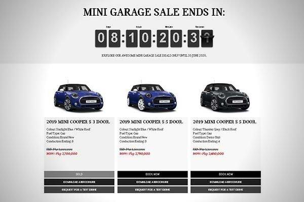 A picture of the MINI garage sale countdown