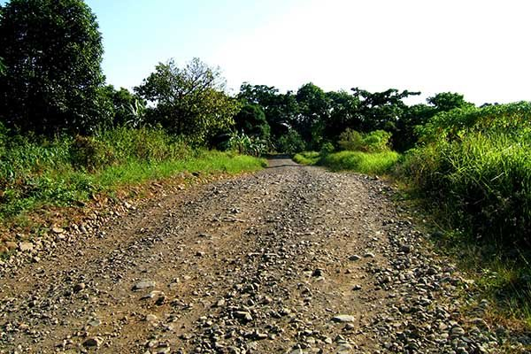 A picture of a rough road in the Philippines