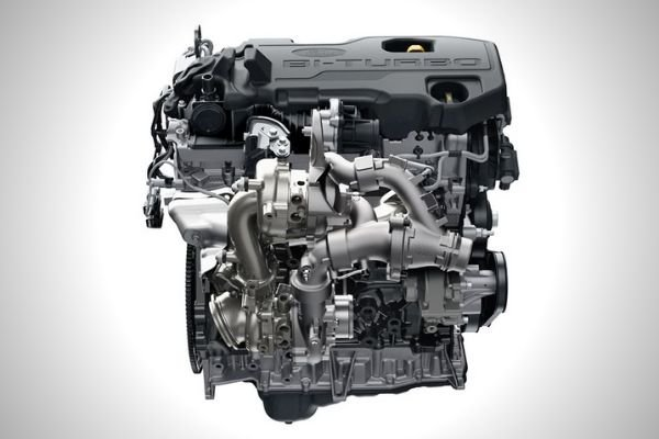 A picture of the Ford Bi-Turbo engine