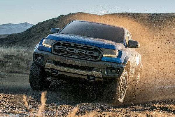 A picture of the Raptor being driven off road