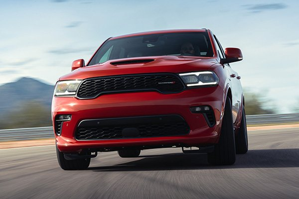 A picture of the front of the Durango SRT Hellcat on a racetrack