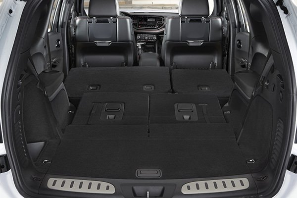 A picture of the interior of the Durango SRT Hellcat with the seats folded