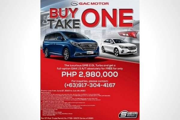 GAC's buy one, take one promo