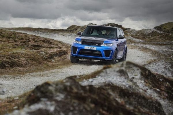 An off-roading Range Rover Sport
