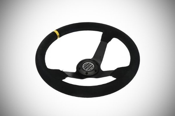 A picture of an aftermarket steering wheel.