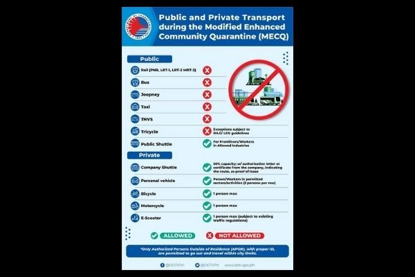 Department of Transportation's MECQ guidelines