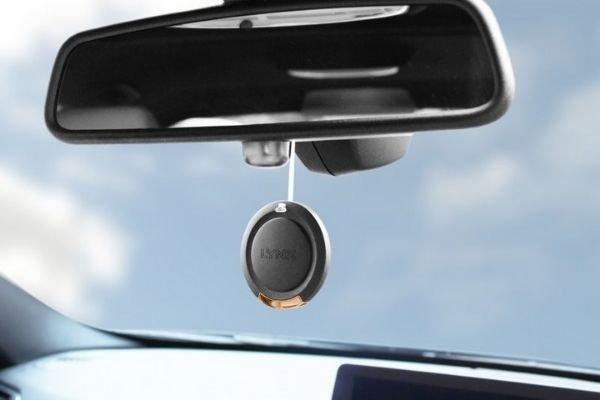 A hanging car air freshener