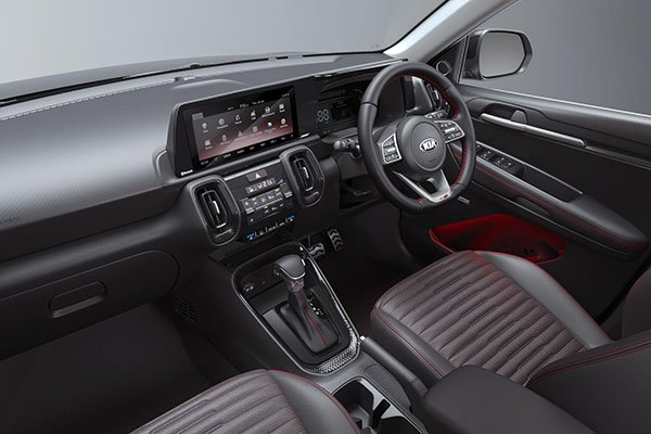 A picture of the interior of the Kia Sonet.
