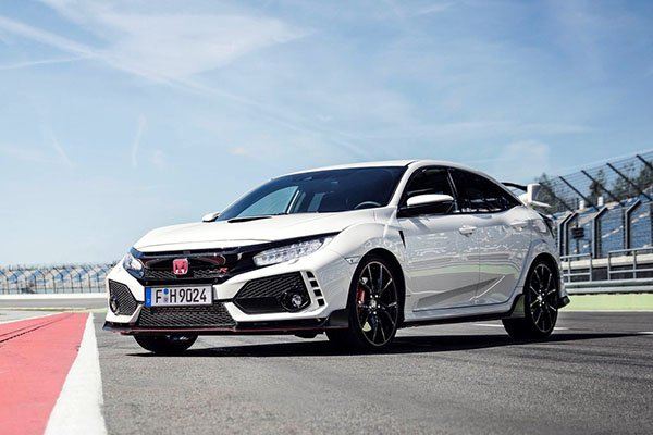 A picture of a Civic Type R on a racetrack.