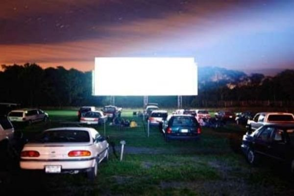 Cars piled up for a drive-in theater