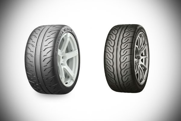 A picture of a potenza tire and the neova tire.