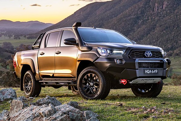 A picture of the Hilux Rugged X in the wilderness.
