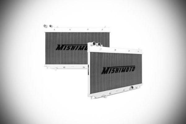 A picture of Mitshimoto 2-row alimunim radiators.
