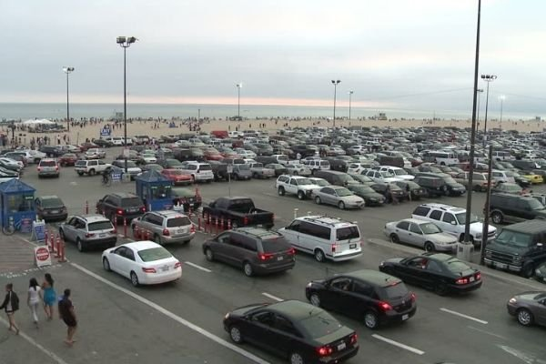 A very busy parking lot