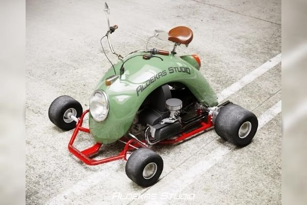 A go-kart finished in olive green