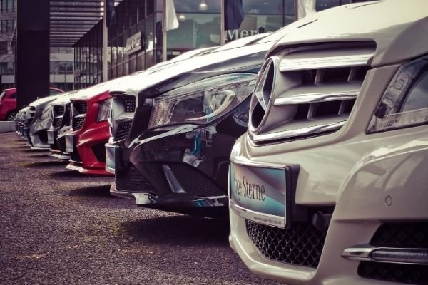 Mercedes cars parked