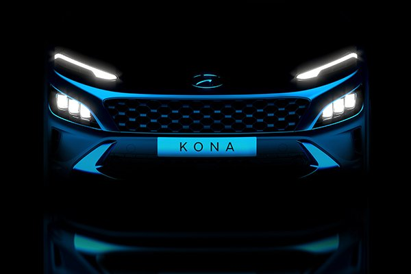 A picture of the front of the upcoming Hyundai Kona.