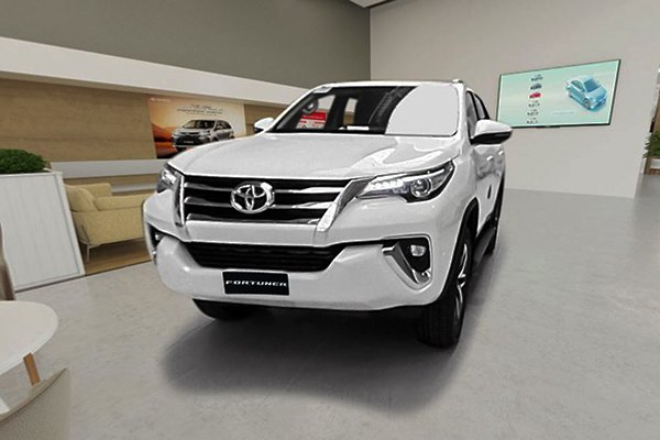A picture of the Toyota Fortuner inside the 3D virtual showroom