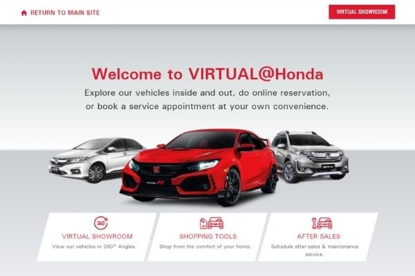 Honda's virtual showroom landing page