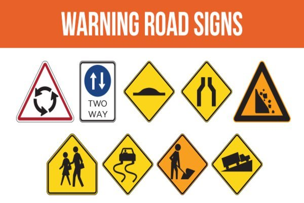 Different warning signs in one picture