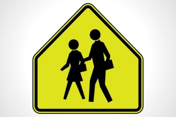 A School Zone Ahead sign