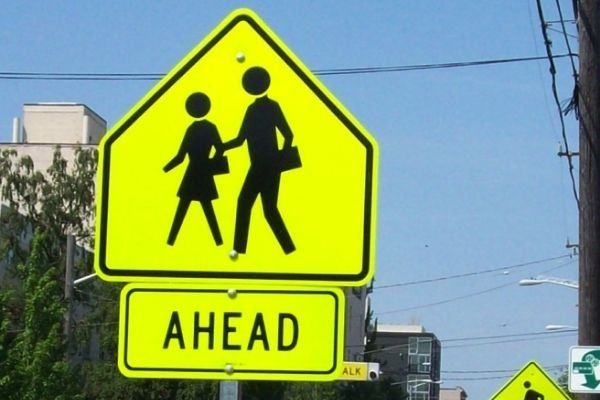 school zone sign color: Yellow