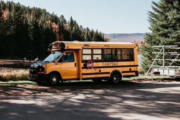 A yellow bus in the middle of a forest
