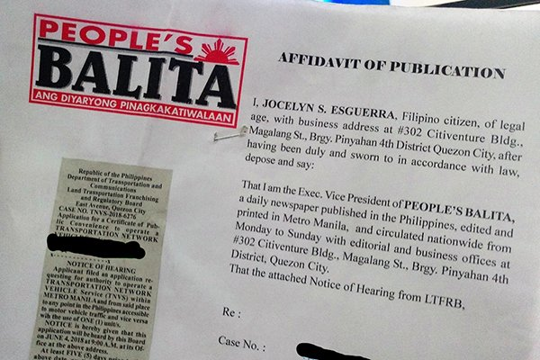 A picture of a People's Balita proof of publication.