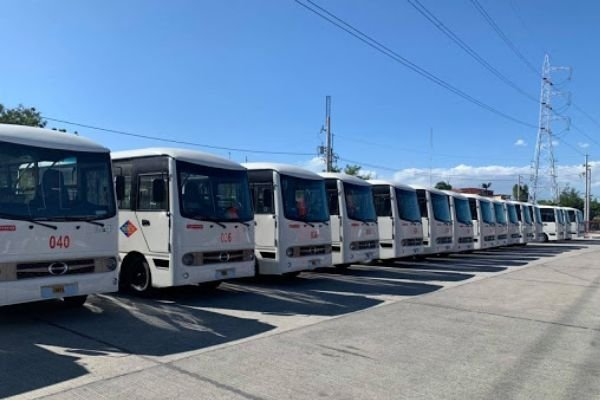 A picture of several modernized jeepneys lined up.