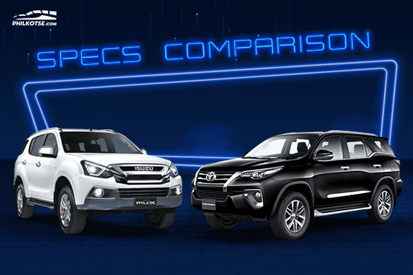 A picture of the mu-X and the Fortuner head to head.