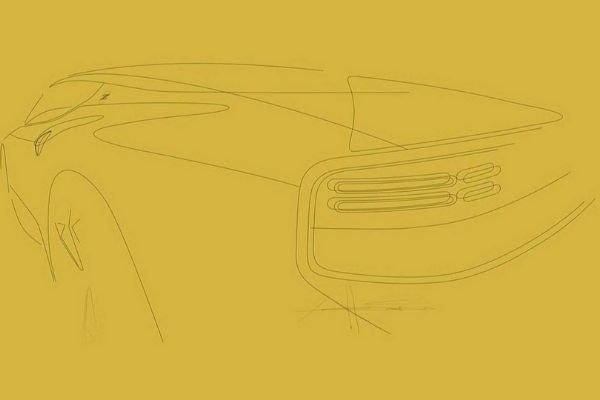 A picture of a drawing of the rear end of the new Z car.