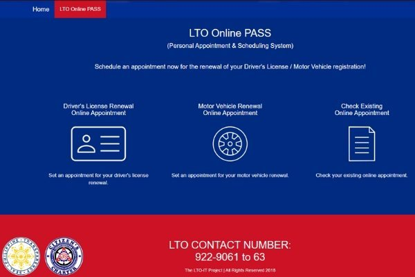 Landing page of LTO online appointment
